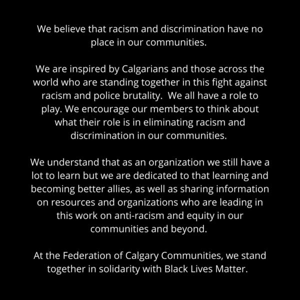 Federation of Calgary Communities Statement Regarding Black Lives Matter