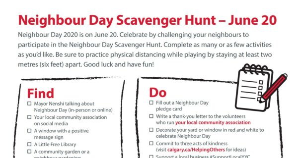 Saturday, June 20 is Neighbour Day and we want you to be part of it!